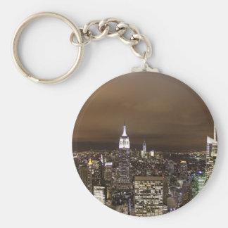 New York night skyline Basic Round Button Keychain