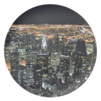 New York night skyline Melamine Plate