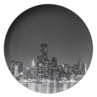New York Night Skyline Plate