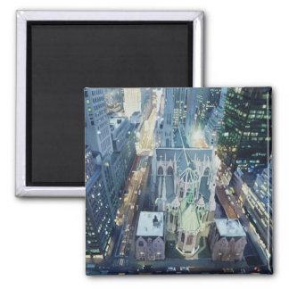 """New York Nightlights"" Watercolor Art 2 Inch Square Magnet"