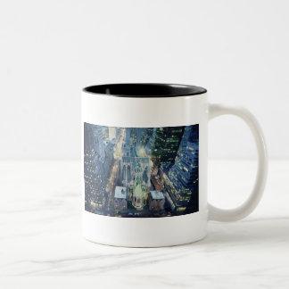 """New York Nightlights"" Watercolor Cityscape Two-Tone Coffee Mug"