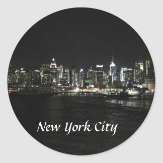 New York Nighttime Skyline Classic Round Sticker
