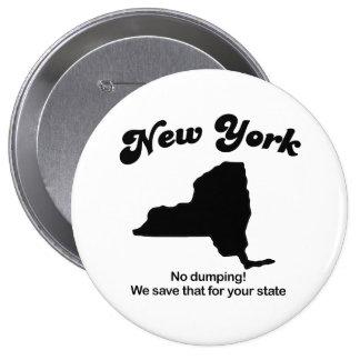 New York - No dumping Pinback Buttons