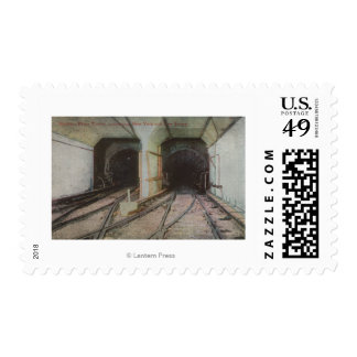New York, NY - Hudson River Tunnel, Subway Syste Postage Stamp