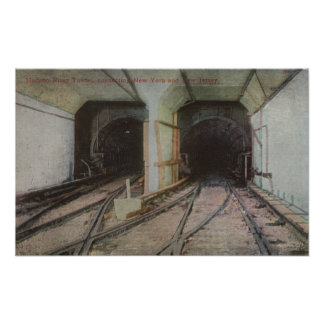 New York, NY - Hudson River Tunnel, Subway Syste Poster