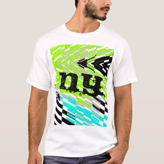 New York NY Monogram Shatter Green Blue T-Shirt