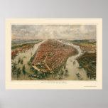 New York, NY Panoramic Map - 1865 Poster