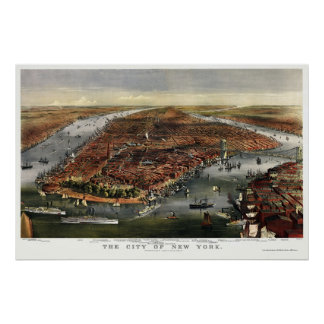 New York, NY Panoramic Map - 1870 Poster
