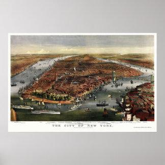New York, NY Panoramic Map - 1870 Poster