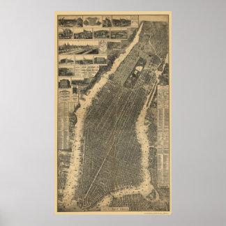New York, NY Panoramic Map - 1879 Poster