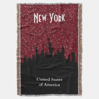 New York, NY Skyline in Dark Red Faux Glitter Throw Blanket