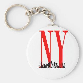 New York NY Skyline Logo Design Keychain