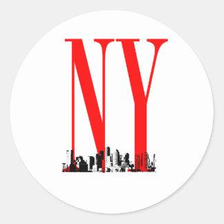 New York NY Skyline Logo Design Stickers