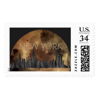 NEW YORK, NY SKYLINE PAINTBRUSH - POSTAGE STAMP