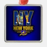 New York (NY) Square Metal Christmas Ornament