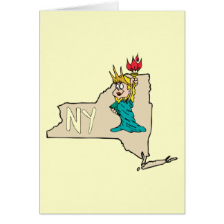 New York NY State Cartoon Map Statue Of Liberty Greeting Card