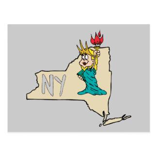 New York NY State Cartoon Map Statue Of Liberty Postcard