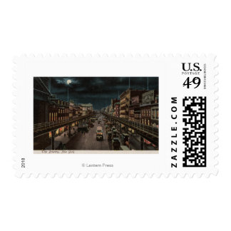 New York, NY - The Bowery - Night Scene Postage