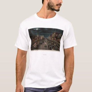 New York, NY - The Bowery - Night Scene T-Shirt