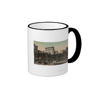 New York, NY - Union Square View, Horse Carts Ringer Coffee Mug