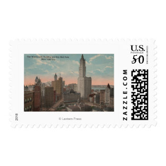 New York, NY - Woolworth Building and City Hall Postage