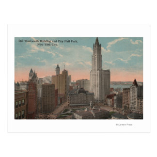New York, NY - Woolworth Building and City Hall Postcard
