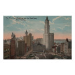 New York, NY - Woolworth Building and City Hall Print