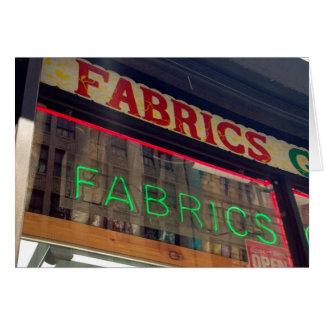 New York NYC Neon Sign Garment District Fabrics Card