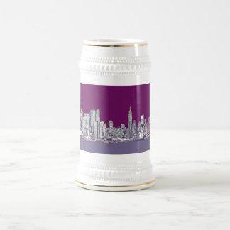 New York NYC purple 18 Oz Beer Stein