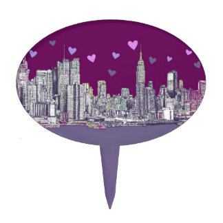 New York NYC purple hearts Cake Topper