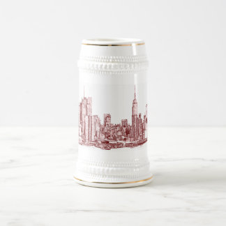 New York NYC red 18 Oz Beer Stein