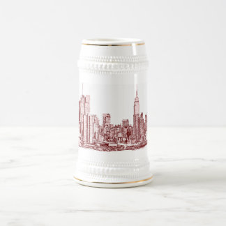 New York NYC red Beer Stein