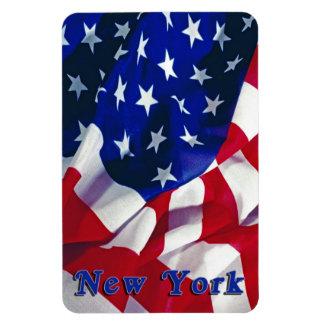New York on Flag United States Magnet