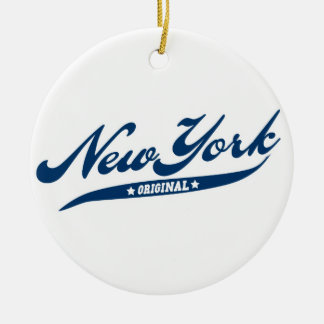 New York Double-Sided Ceramic Round Christmas Ornament