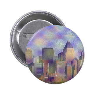 New York, painted effect Pinback Button