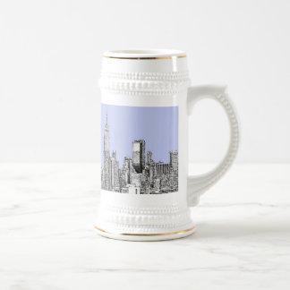 New York pale blue 18 Oz Beer Stein