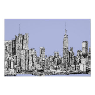 New York pale blue Poster