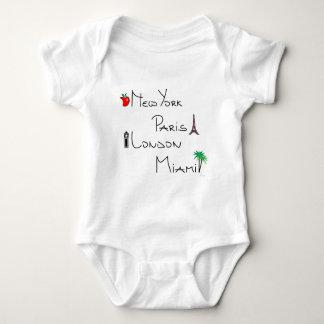 New York, Paris, London, Miami Baby Bodysuit