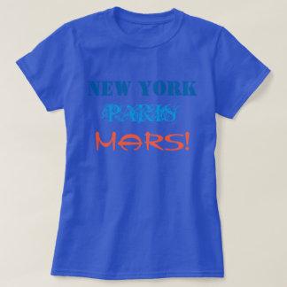 New York Paris Mars Blue Orange Travel T-Shirt