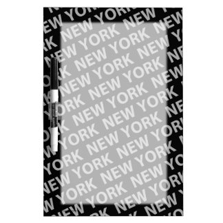 New York Pattern Gray Dry-Erase Board