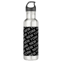 New York Pattern Gray Water Bottle