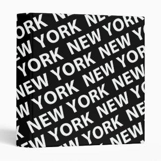 New York Pattern White 3 Ring Binder