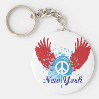 New York Peace Sign Basic Round Button Keychain