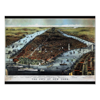 New York Perspective Map Poster