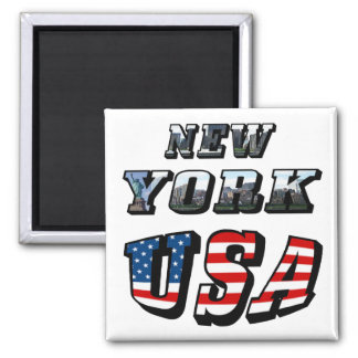 New York Picture and USA Text Magnet