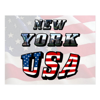 New York Picture and USA Text Post Card