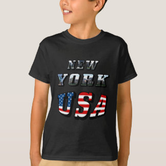 New York Picture and USA Text T-Shirt