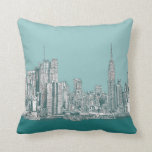 New York pillow turquoise