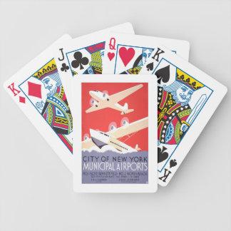 New York Plane Flight Vintage Travel Playing Cards