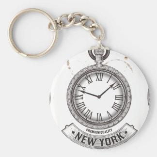 New York Pocket Watch Button Keychain